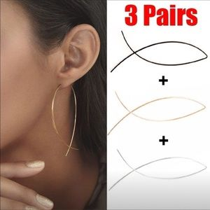 Jewelry - Three pairs of wire earrings (great fashion deal)
